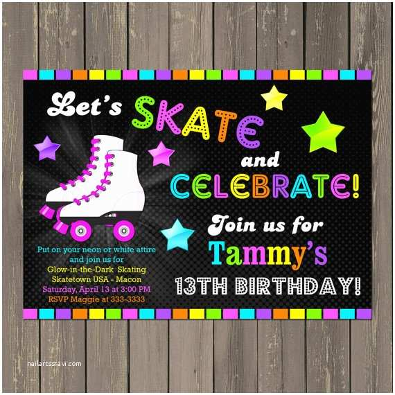 Glamorous Party Invitation Wow Roller Skating Birthday Invitation Skate Party Invitation