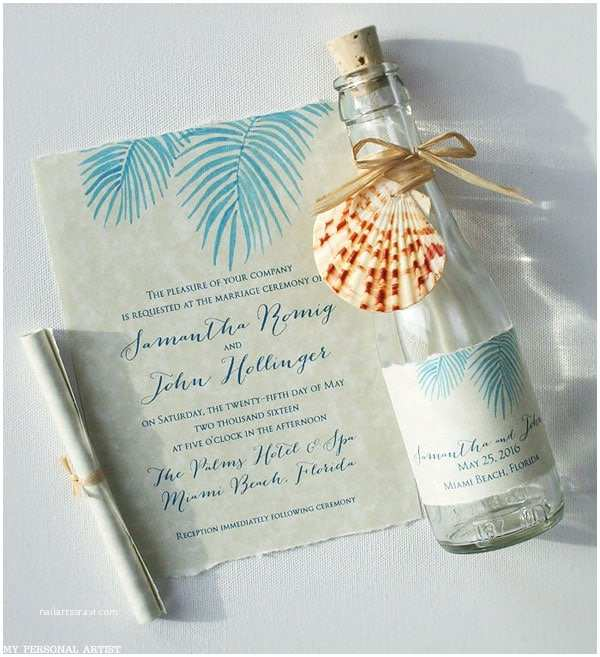 Glass Wedding Invitations Beach Wedding Invitations Painted Palm Fronds Glass Bottles