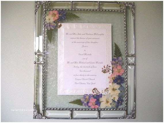 Glass Wedding Invitations Framed Wedding Invitation Beveled Glass Pressed
