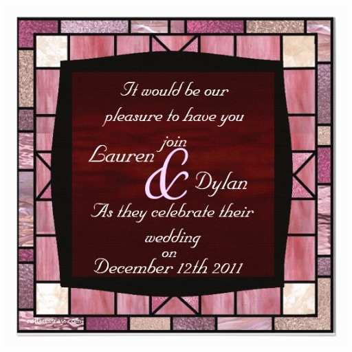 stained glass design reddish wedding invitation