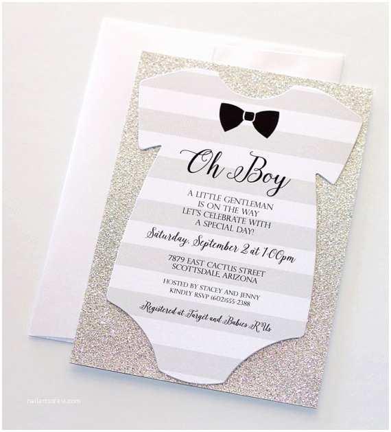 Glitter Baby Shower Invitations Baby Shower Esie Invitation Glitter Shower Invitation