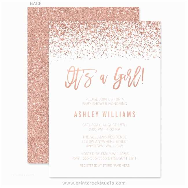 Glitter Baby Shower Invitations Modern Faux Rose Gold Glitter Girl Baby Shower Invitations