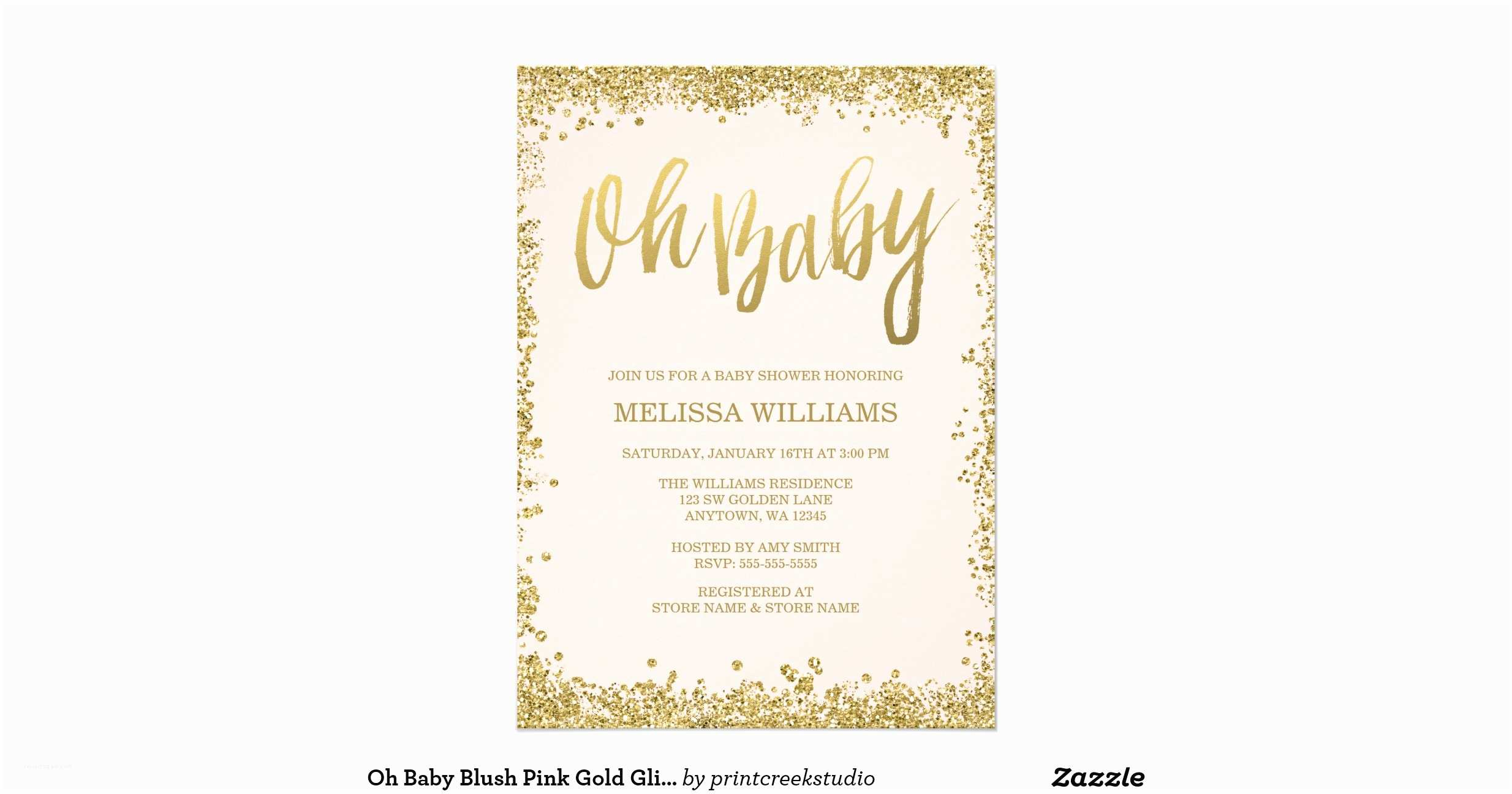 Glitter Baby Shower Invitations Oh Baby Blush Pink Gold Glitter Baby Shower 11 Cm X 16 Cm