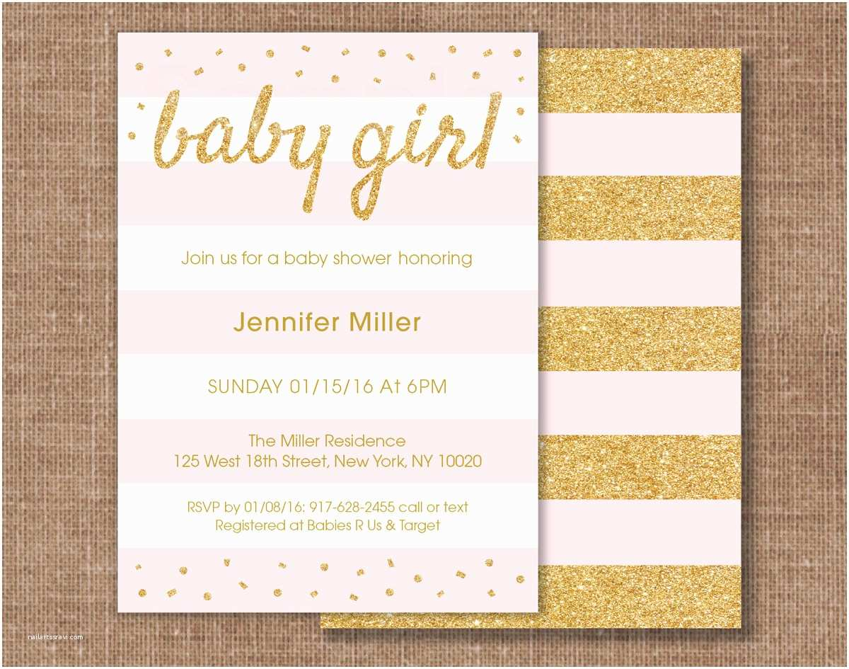 Glitter Baby Shower Invitations Pink & Gold Glitter Baby Shower Invitation Glitter Confetti