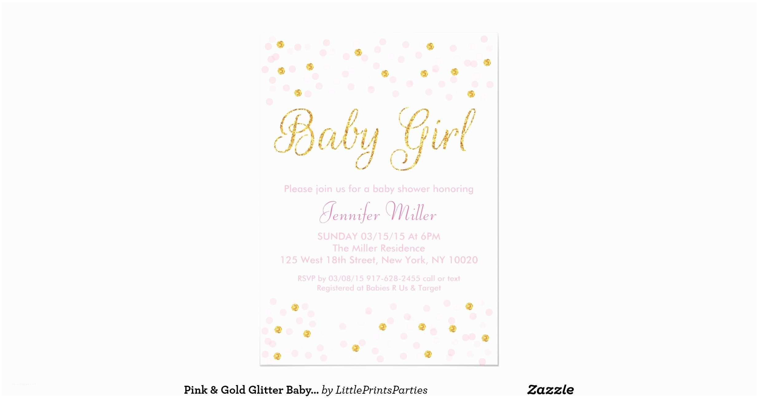 Glitter Baby Shower Invitations Pink Gold Glitter Baby Shower Invitations