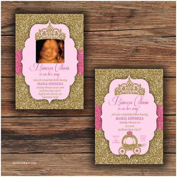 Glitter Baby Shower Invitations Pink Gold Glitter Princess Baby Shower Invitations or Thank