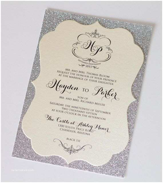 silver sparkle wedding invitationstml