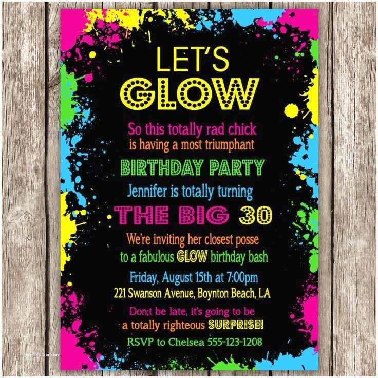 Glow In the Dark Party Invitations Best 25 Neon Party Invitations Ideas On Pinterest