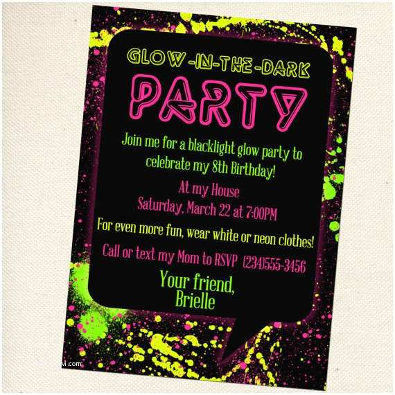 Glow In the Dark Party Invitations Customized Glow In the Dark Party Invitation
