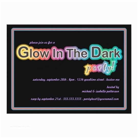 Glow In the Dark Party Invitations Glow In the Dark Blacklight Party Invitation