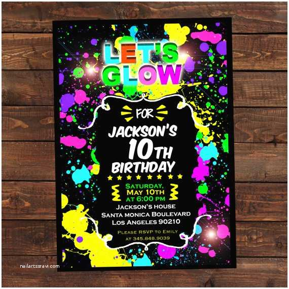 Glow In the Dark Party Invitations Glow In the Dark Invitations Diy Glow Party Invitations