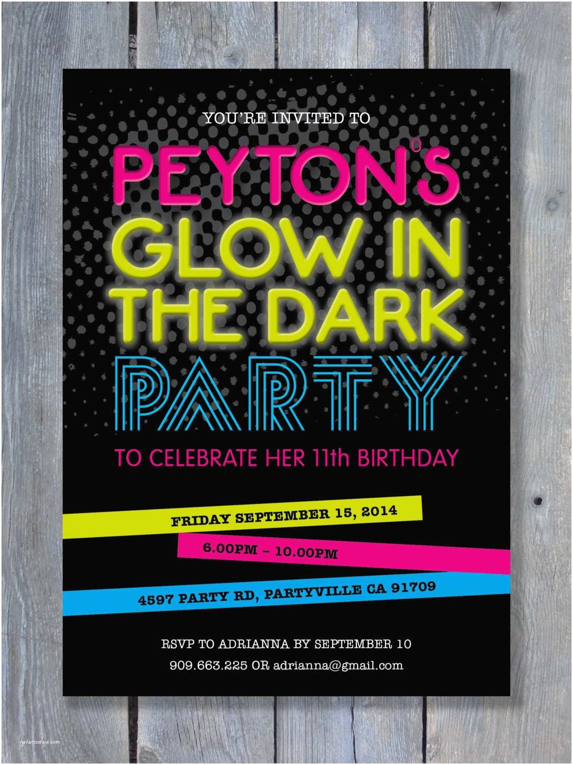 Glow In the Dark Party Invitations Glow In the Dark Party Invitation for Birthday Black Light