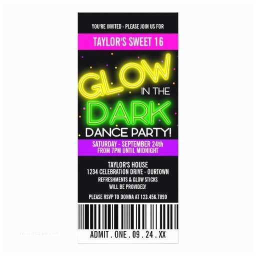 Glow In the Dark Party Invitations Glow In the Dark Sweet 16 Party 4x9 25 Paper Invitation