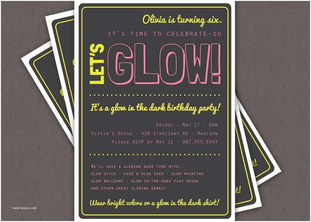 Glow In the Dark Party Invitations Glow In the Dark theme Birthday Party Invitation Custom