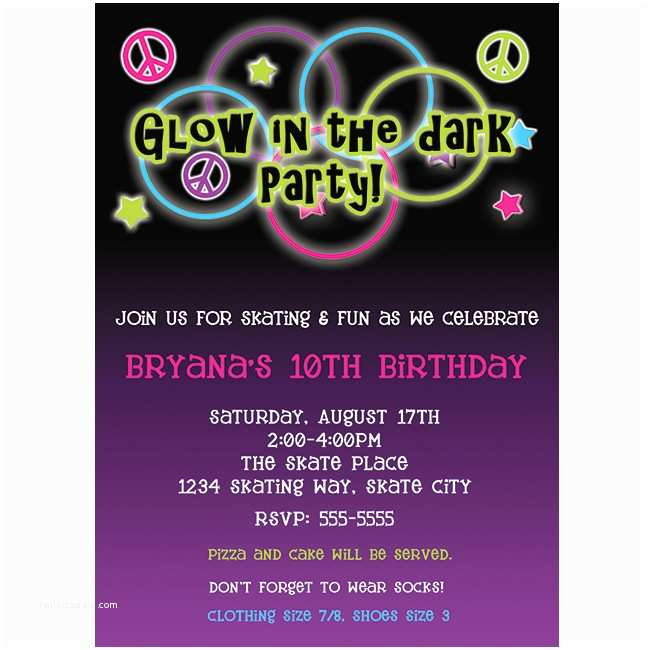 Glow In the Dark Party Invitations Glow Party Invitations