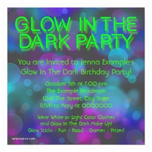 Glow In the Dark Party Invitations Neon Glow In the Dark Birthday Party Invitation