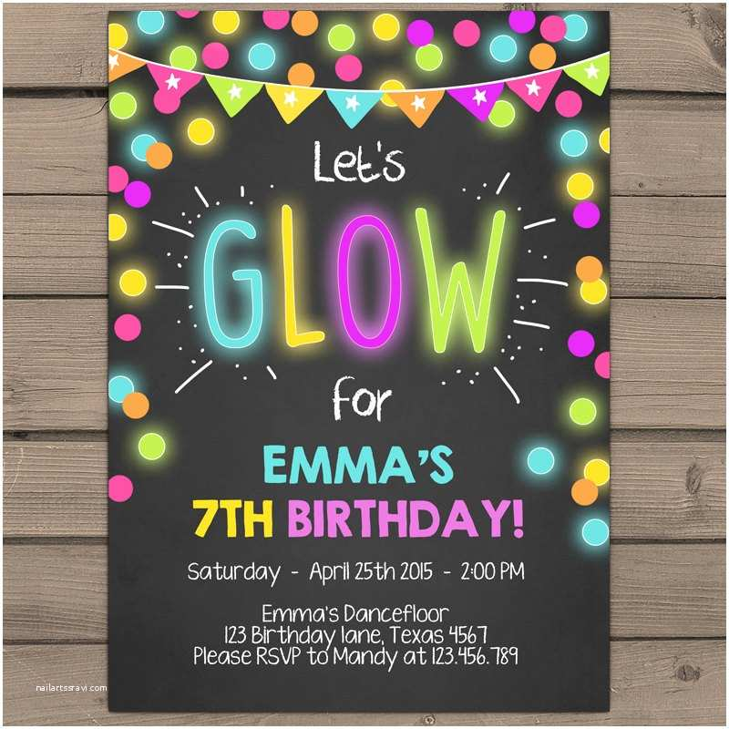 Glow In the Dark Party Invitations Neon Glow Party Invitation Glow Birthday Invitation Glow In