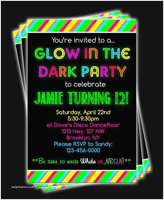 Glow Party Invitations In The Dark Invitation Wording