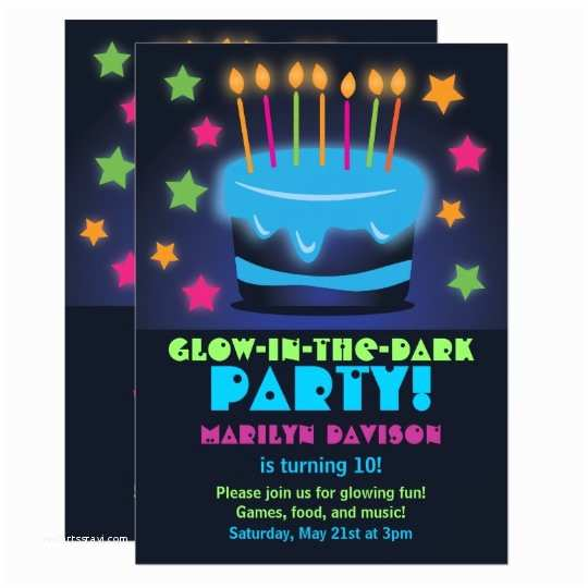 Glow Party Invitations Birthday Cake Glow In the Dark Party Invitations