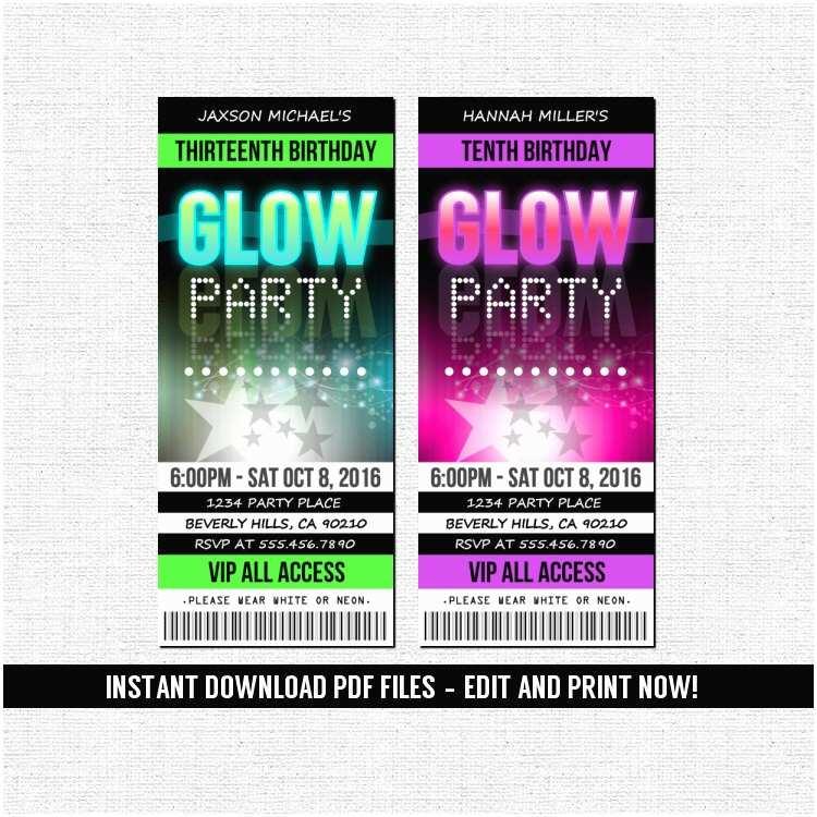 Glow Party Invitations Ticket Style Neon Birthday