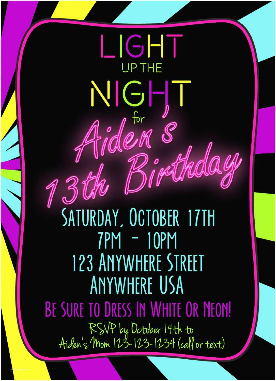 Glow Party Invitations Neon Glow Party Invitations Template