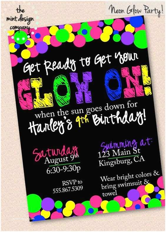 Glow Party Invitations Neon Glow In the Dark Party Invitation by