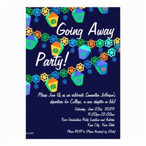 """Going Away Party Invitation Colorful Blue Lanterns Going Away Party Invitation 5"""" X 7"""