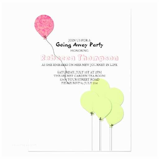 Going Away Party Invitation Pink and Green Balloons Going Away Party Invite