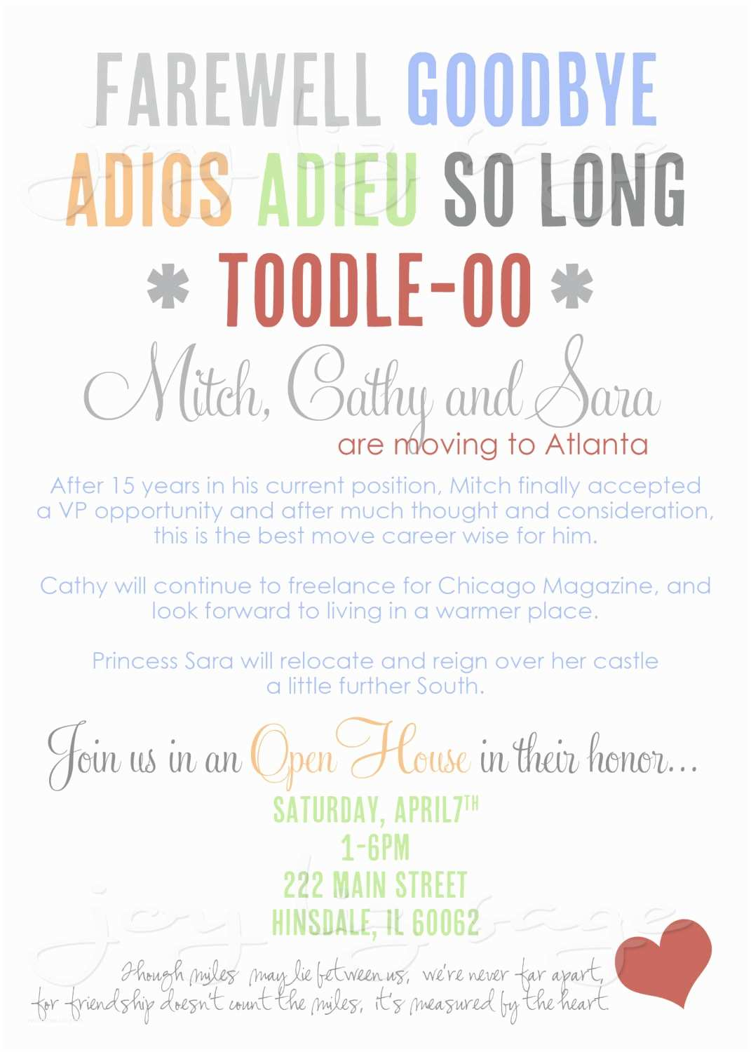 Going Away Party Invitation Template Farewell Party Invitation Wording Template