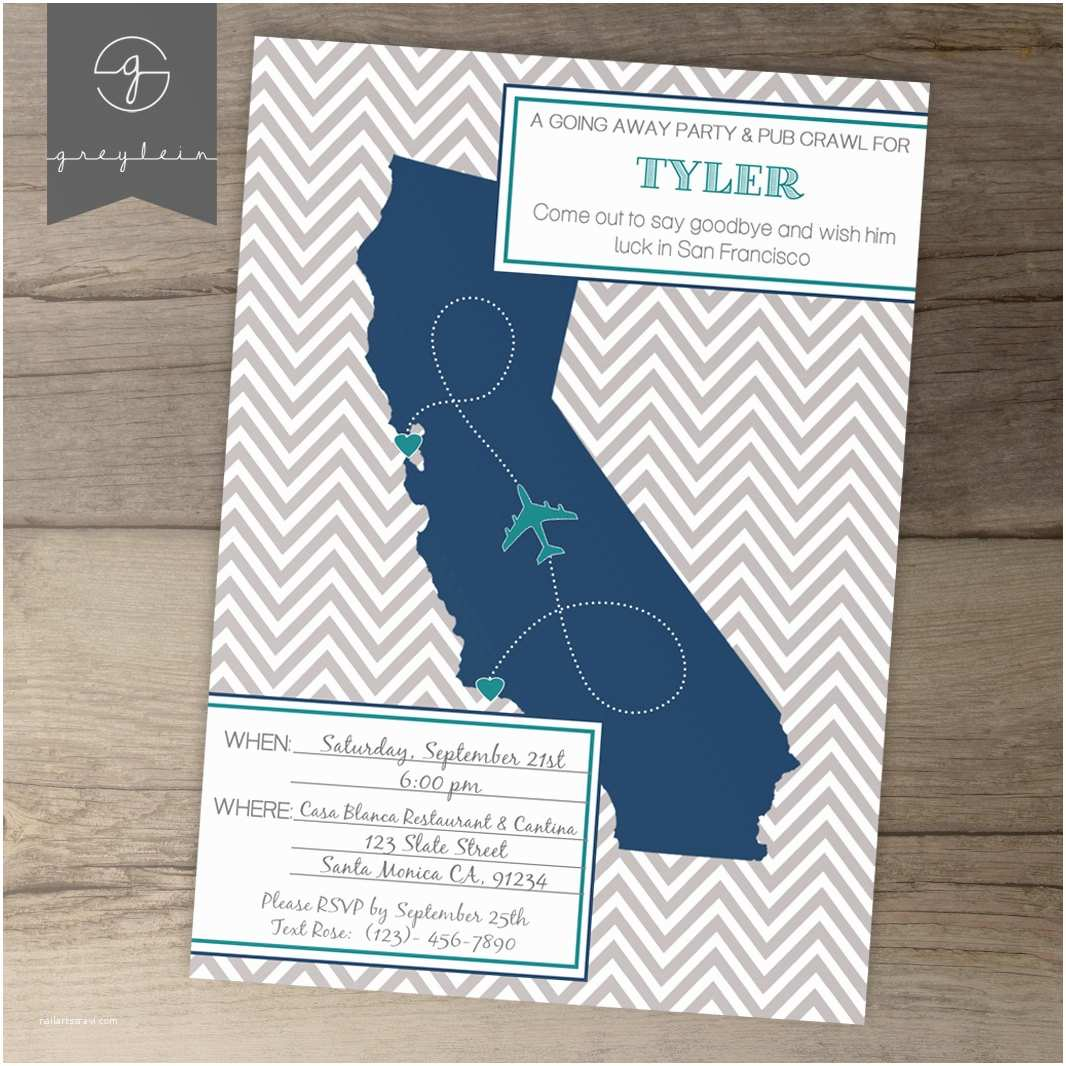 Going Away Party Invitation Template Going Away Party Invitations Invites Single State by