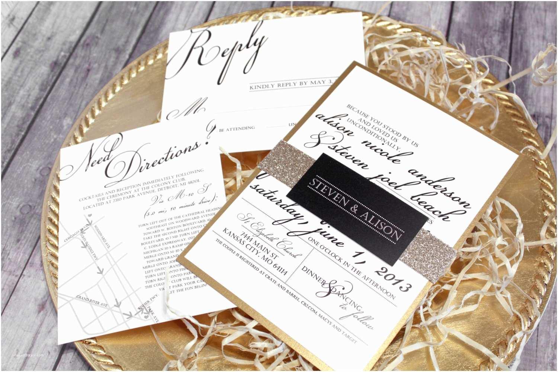 Gold and White Wedding Invitations Black White & Gold Wedding Invitation Set Classic Modern