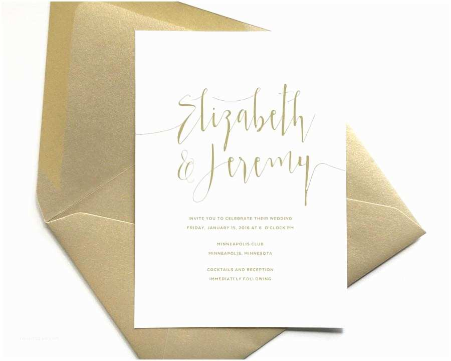 Gold and White Wedding Invitations Elegant Gold Wedding Invitations Script Lettering