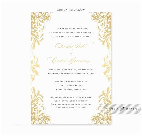 Gold and White Wedding Invitations Gold Wedding Invitation Printed White Black Indian Lace