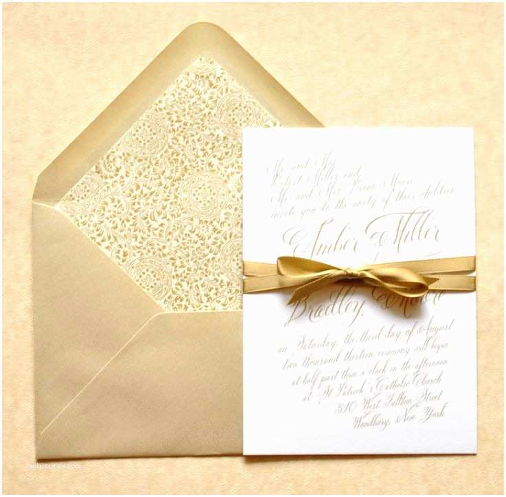 Gold and White Wedding Invitations Gold Wedding Invitations Gold Calligraphy Wedding