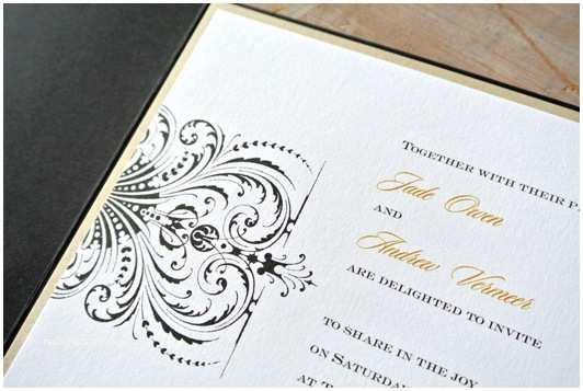 Gold and White Wedding Invitations Gold White and Black Wedding Pocket Invitation Little