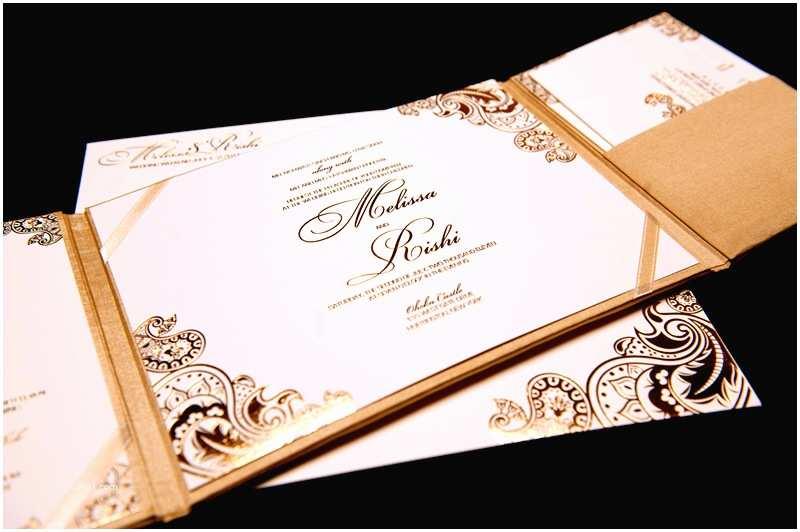 Gold and White Wedding Invitations Gold White Wedding Invitations Foil Stamped