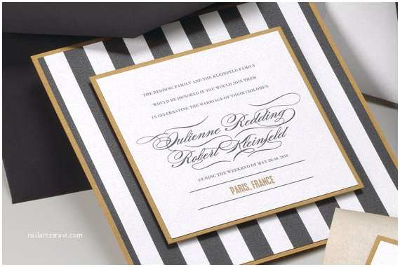 Gold and White Wedding Invitations Items Similar to Stripe Black White and Gold Wedding