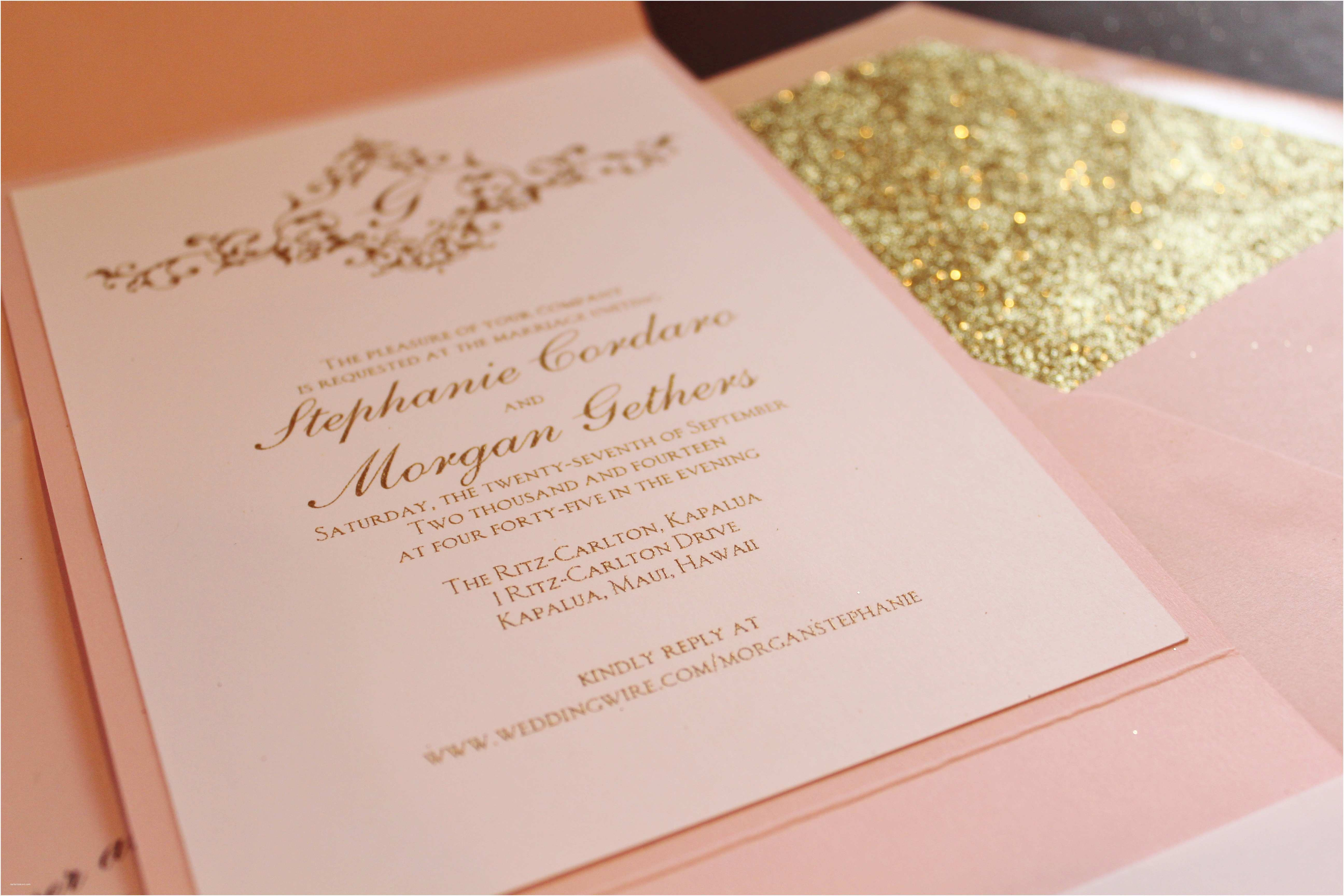 Gold and White Wedding Invitations Pink Gold Glitter = Fabulous