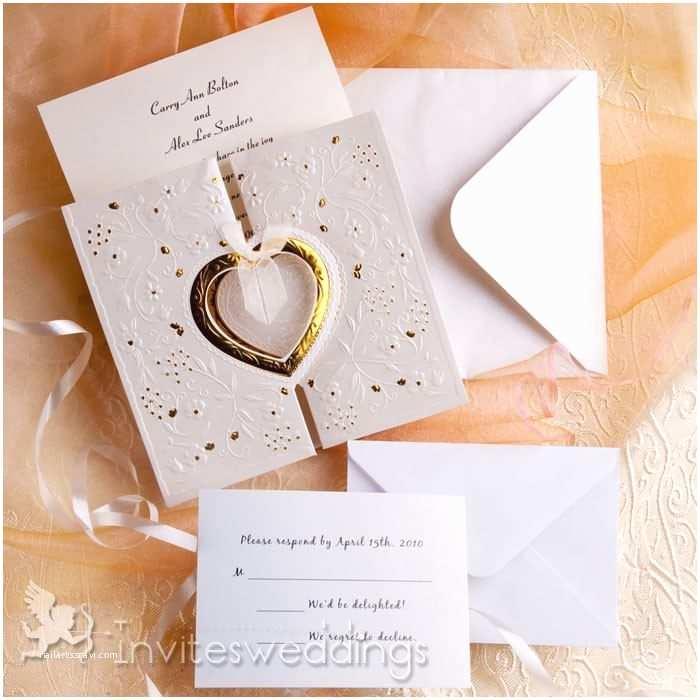 Gold and White Wedding Invitations Romantic Gold and White Heart Folded Wedding Invitations
