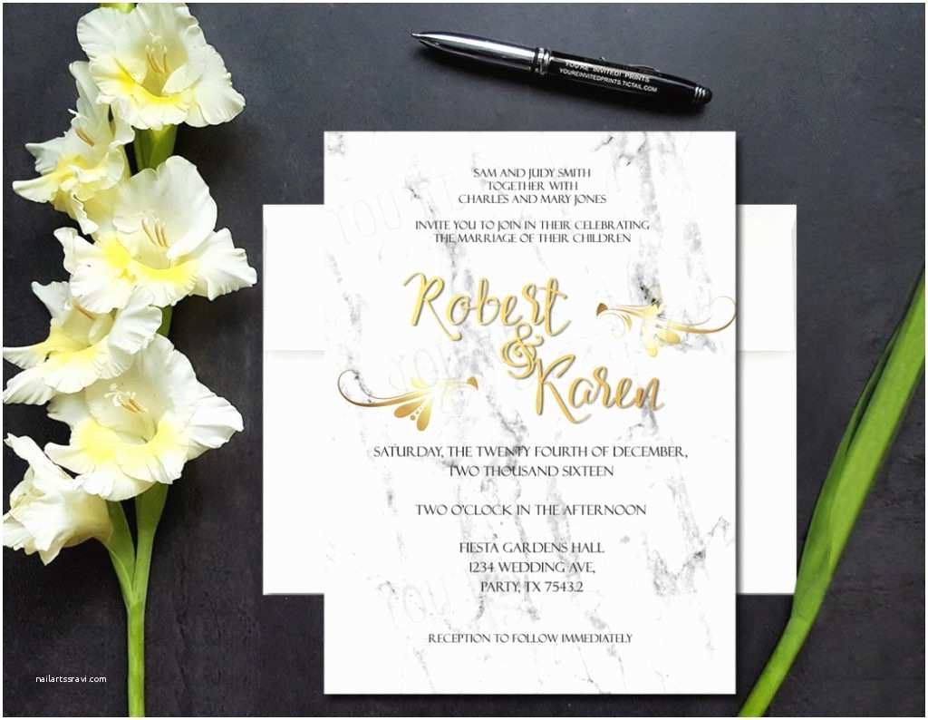 Gold And White  Invitations Uncategorized White Marble Gold Foil Look