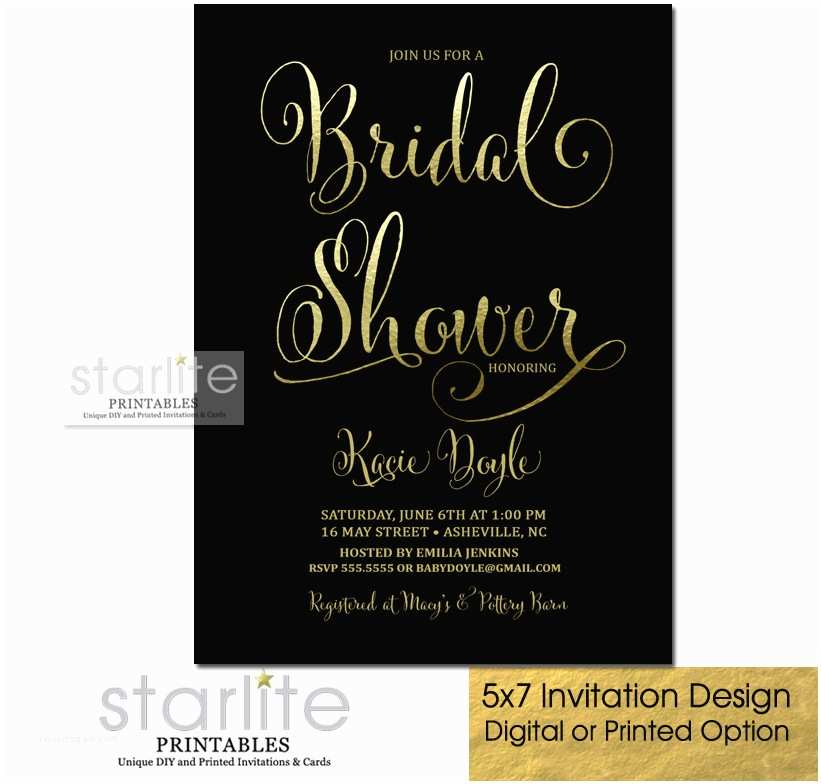 Gold Bridal Shower Invitations Black and Gold Bridal Shower Invitation Fancy Script