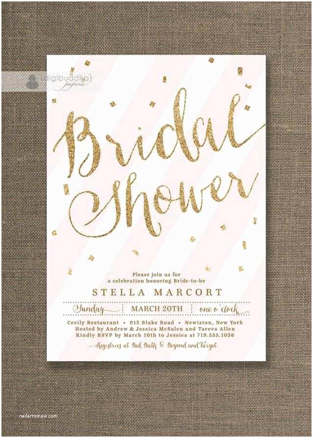 Gold Bridal Shower Invitations Gold Glitter Bridal Shower Invitation Pink & White Stripes