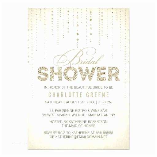 Gold Bridal Shower Invitations Gold Glitter Look Bridal Shower Invitation