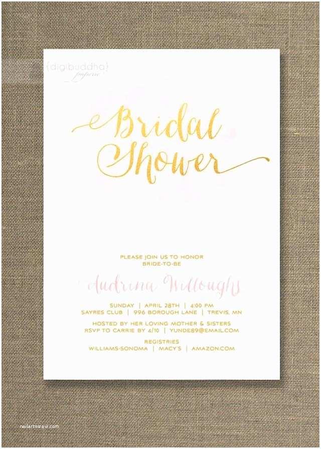 Gold Bridal Shower Invitations Pink & Gold Bridal Shower Invitation Watercolor Gold