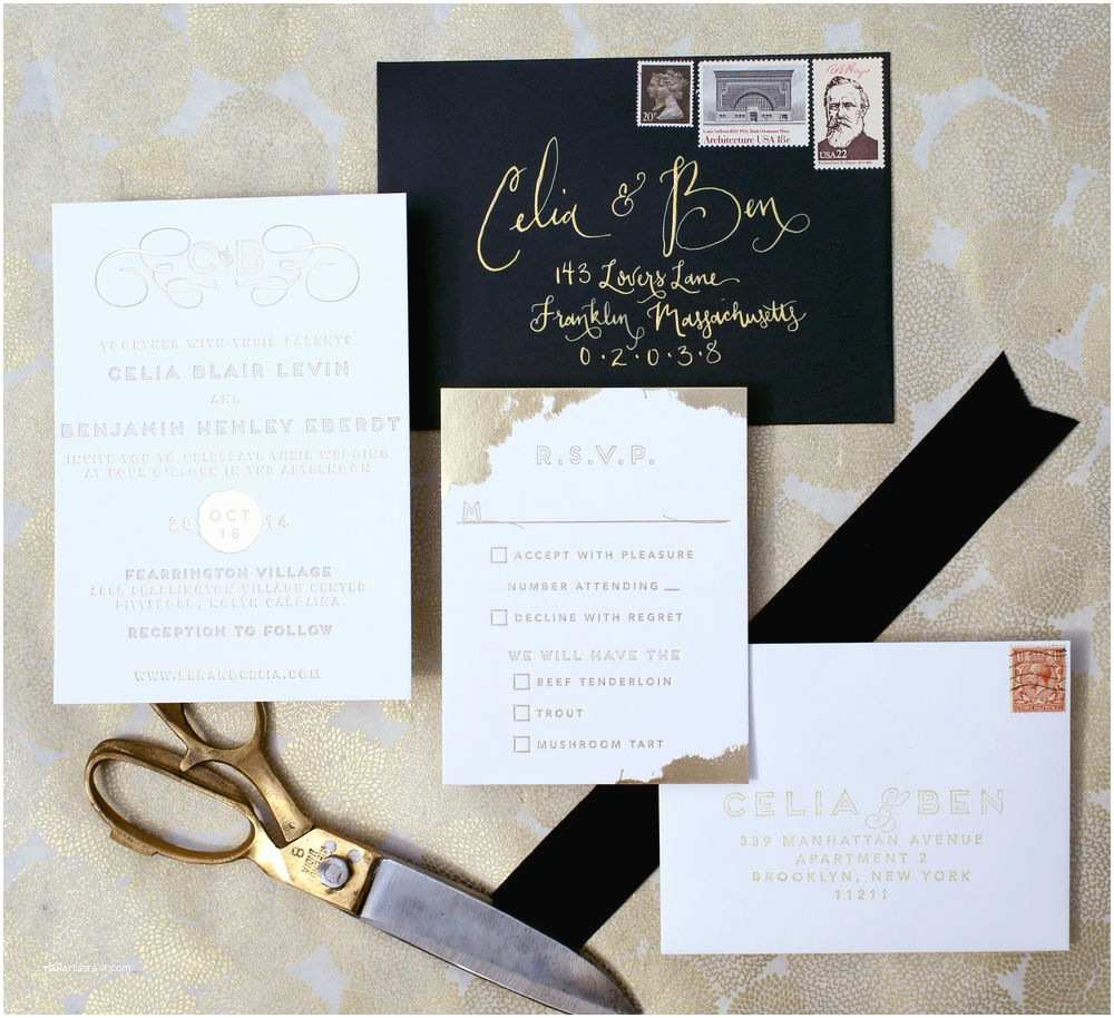 Gold Foil Wedding Invitations 10 Gold Foil Wedding Invitations to Steal Your Heart