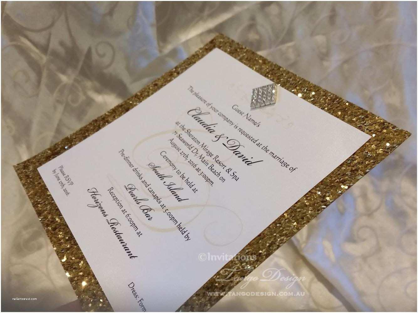glitter wedding invitation in gold foil metallic paper or cus