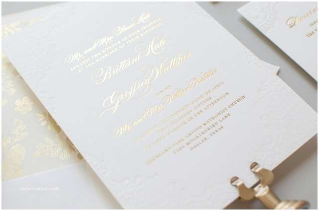 Gold Foil Wedding Invitations Gold Foil and Lace Wedding Invitations