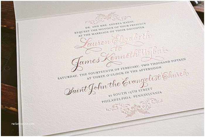 Gold Foil Wedding Invitations Letterpress and Rose Gold Foil Elegant Wedding Invitations