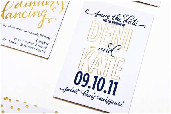 Gold Foil Wedding Invitations Navy Gold Foil Calligraphy Wedding Invitations