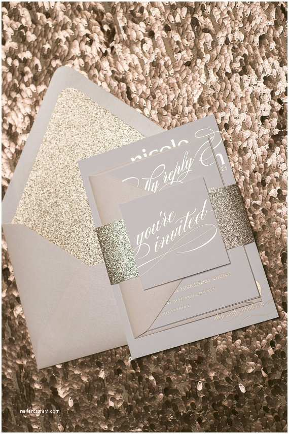 Gold Glitter Wedding Invitations Foil Rose Gold Glitter Wedding Invitations Sample
